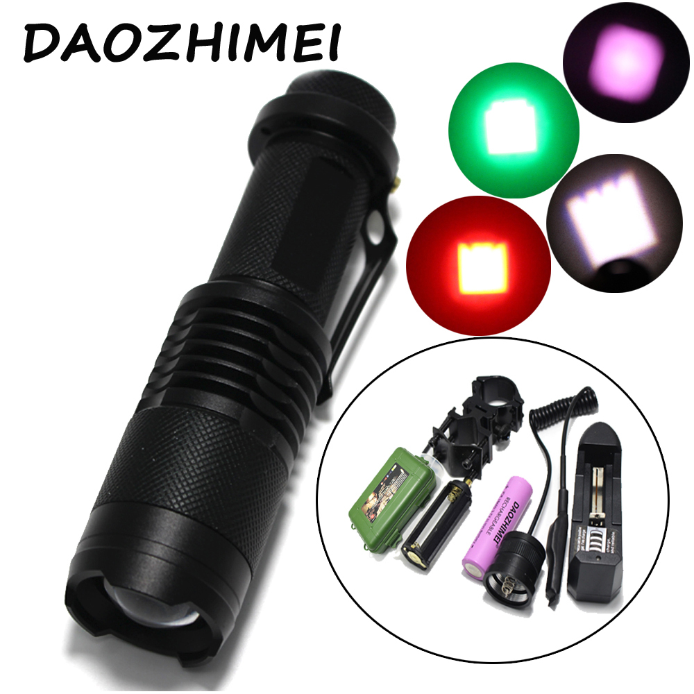 18650 Zoom IR 850nm Green Red White light Hunting Tactical Flashlight T6/Q5 led torch + battery + Charger Pressure Switch c8 q5 led hunting flashlight torch cree led red green blue light camping lamp 1 mode 18650 battery charger gun mount switch