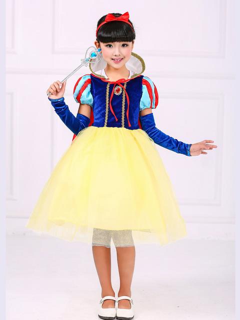 Moda 3 UNIDS set disfraces de halloween niñas niños blancanieves princesse deguisement traje niño