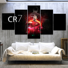 Canvas Wall Art Modular Picture Framework Modern Decoration 5 Pieces Sports CR7 Cristiano Ronaldo HD Printed Boys Room Poster