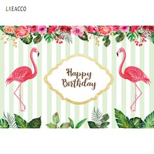 Laeacco Tropical Flamingo Birthday Party Stripes Flower Baby Poster Photography Background Photo Backdrop Photocall Photo Studio