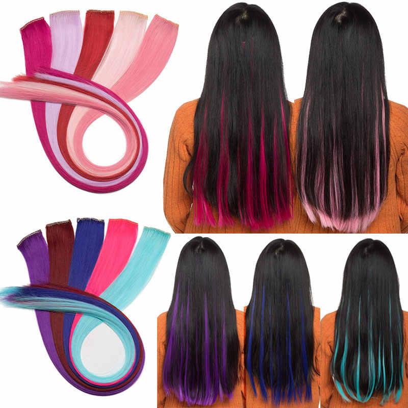 SNOILITE 1 шт. длинные прямые женские синтетические косплей Клип в одной части волосы для наращивания радужные цвета шиньон розовый красный синий