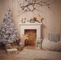KIDNIU Christmas Tree Backdrops Photo Studio Props Wooden Floor Carpet Photography Background Vinyl 5x5FT Christmas082