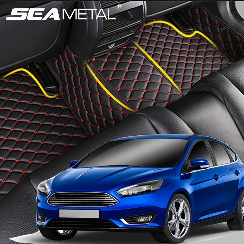 Tapis de Sol De voiture LHD Pour Ford Focus 2 3 2005 2006-2012 2013 2014 2015 2016 2017 Ajustement personnalisé En Cuir Auto Tapis Tapis De Voiture Plaquettes
