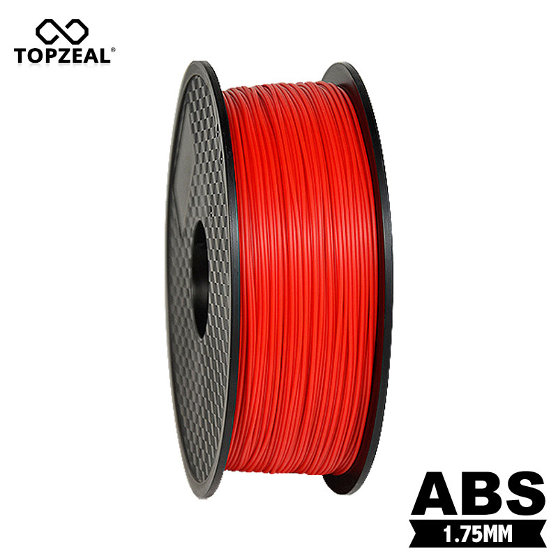 TOPZEAL One Roll 1KG 1.75mm ABS Filament 3D Printer Material Supplies Roll Suitable for 3D Printing Red Color