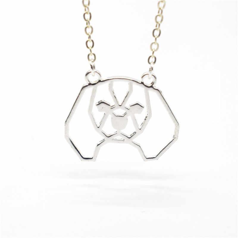 שדוני חדש טרנדי אוריגמי קבלייר קינג צ 'ארלס ספנייל שרשרת זהב צבע כסף צבע בעלי החיים חיות מחמד תכשיטי תליון שרשראות