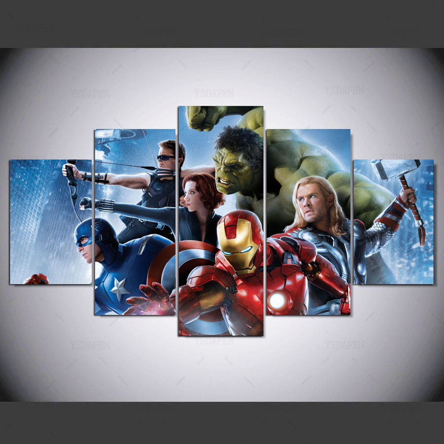 HD print 5pcs Marvel Avengers canvas wall art Painting