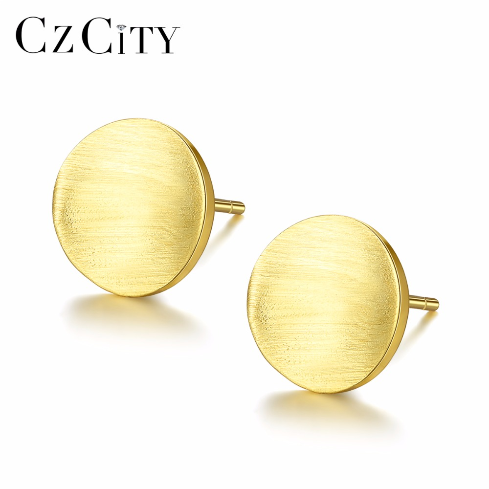 CZCITY Trendy Round Stud Earrings For Women Minimalist Drawing 925 Sterling Silver Women Earring Fine Jewerly Brinco Femme