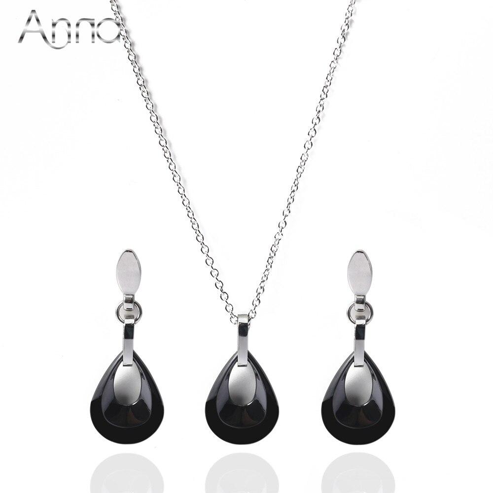A&N Silver Water drop Ceramic Jewelry Se