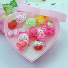 ISINYEE Cute 12PC/set Mix Flower Heart Animal Cartoon Rings For Baby Kids Girl Children's With Display Box Best Friend Gifts
