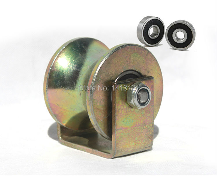 free shipping lifting tool wheel    40mm  U-shaped steel tube rail track bearing fixed pulley  DIY load sheave repari hardware m75 750kgs pulley 304 stainless steel roller crown block lifting pulley factory direct sales all kinds of driving pulley