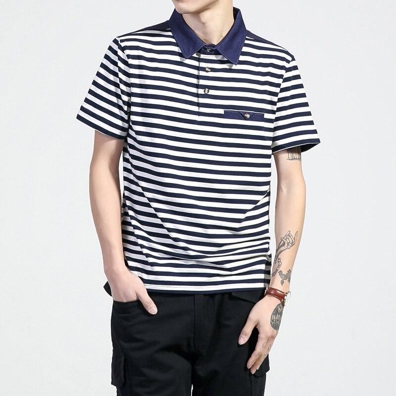 Beliebte Marke Sommer Shirt Männer Polo Plus Größe 5xl Männer Kleidung Kurze Camisa Polo Masculina Neue Polohemd Männlichen ärmeln Gestreiften Revers Hemd