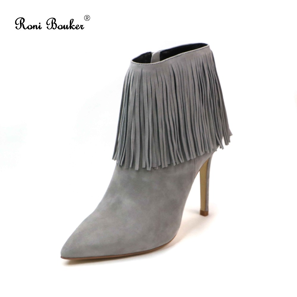 Roni Bouker Plus SIZE 42 Free shipping Woman Fringe Ankle Booties Suede Leather Pointed Toe High Heels Handmade Autumn Shoes roni bouker women zipper boots autumn winter snake ankle booties high heels fashion pointed toe ladies sexy shoes 2018 big size