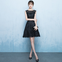 Classic Blace Lace Sleeveless Dress Sexy Slim O neck Graduation Gowns Exquisite Princess Cheongsam Royal Banquet Prom Dresses