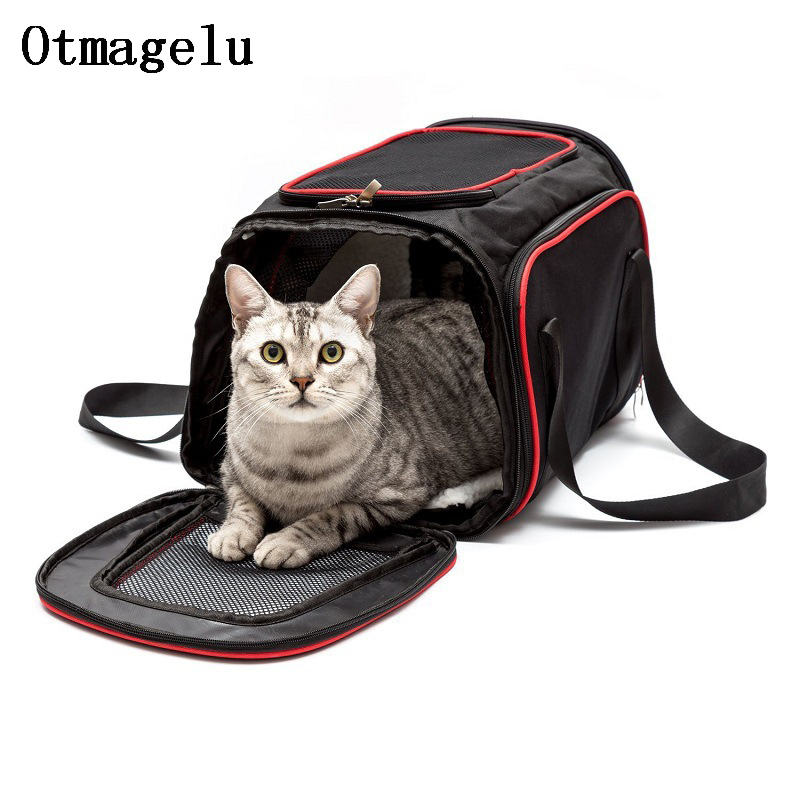 Big Space Pet Car Dog Carriers Cat Travel Carrying Handbag Breathable Bag Net Yarn Portable Pet Backpack Double Exhibition Bag dog care training collar