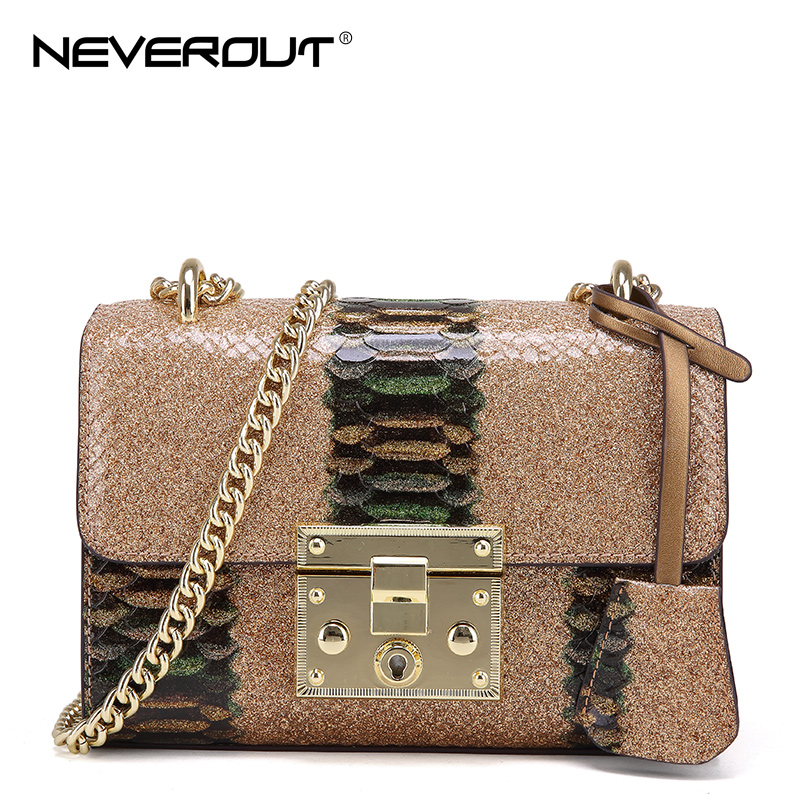 NeverOut Women Smooth Inclined Satchel Chains Crossbody Bags Split Leather Serpentine Messenger Bag Mixed Color Shoulder Sac