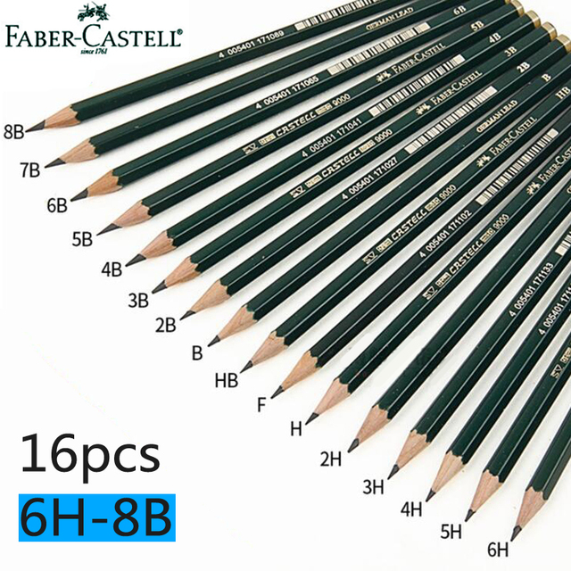 faber castell 16pcs drawing pencil 8b 7b 6b 5b 4b 3b 2b b hb f h 2h