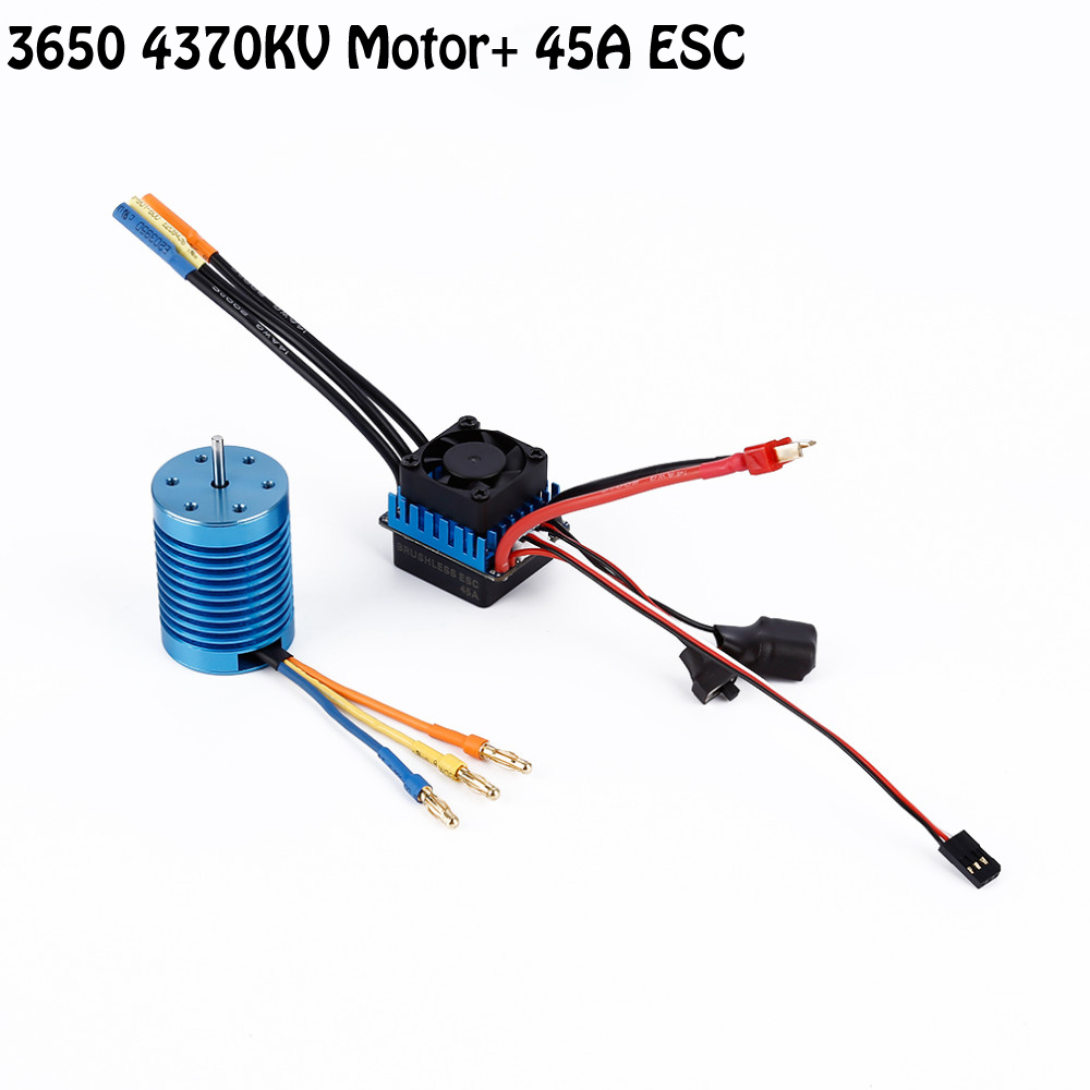 OCDAY 3650 4370KV 4P Sensorless Brushless Motor with 45A Brushless ESC (Electric Speed Controller) for 1/10 RC Off-Road Car 3650 3900kv 4p sensorless brushless motor 60a brushless elec speed controller esc w 5 8v 3a switch mode bec for 1 10 rc car