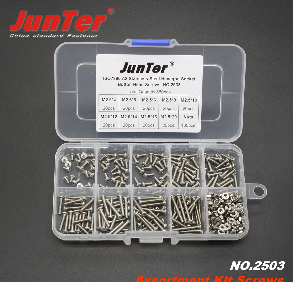 360pcs M2.5 (2.5mm)  A2 Stainless Steel ISO7380 Button Head Allen Bolts Hexagon Socket Screws With Nuts Assortment Kit NO.2503360pcs M2.5 (2.5mm)  A2 Stainless Steel ISO7380 Button Head Allen Bolts Hexagon Socket Screws With Nuts Assortment Kit NO.2503