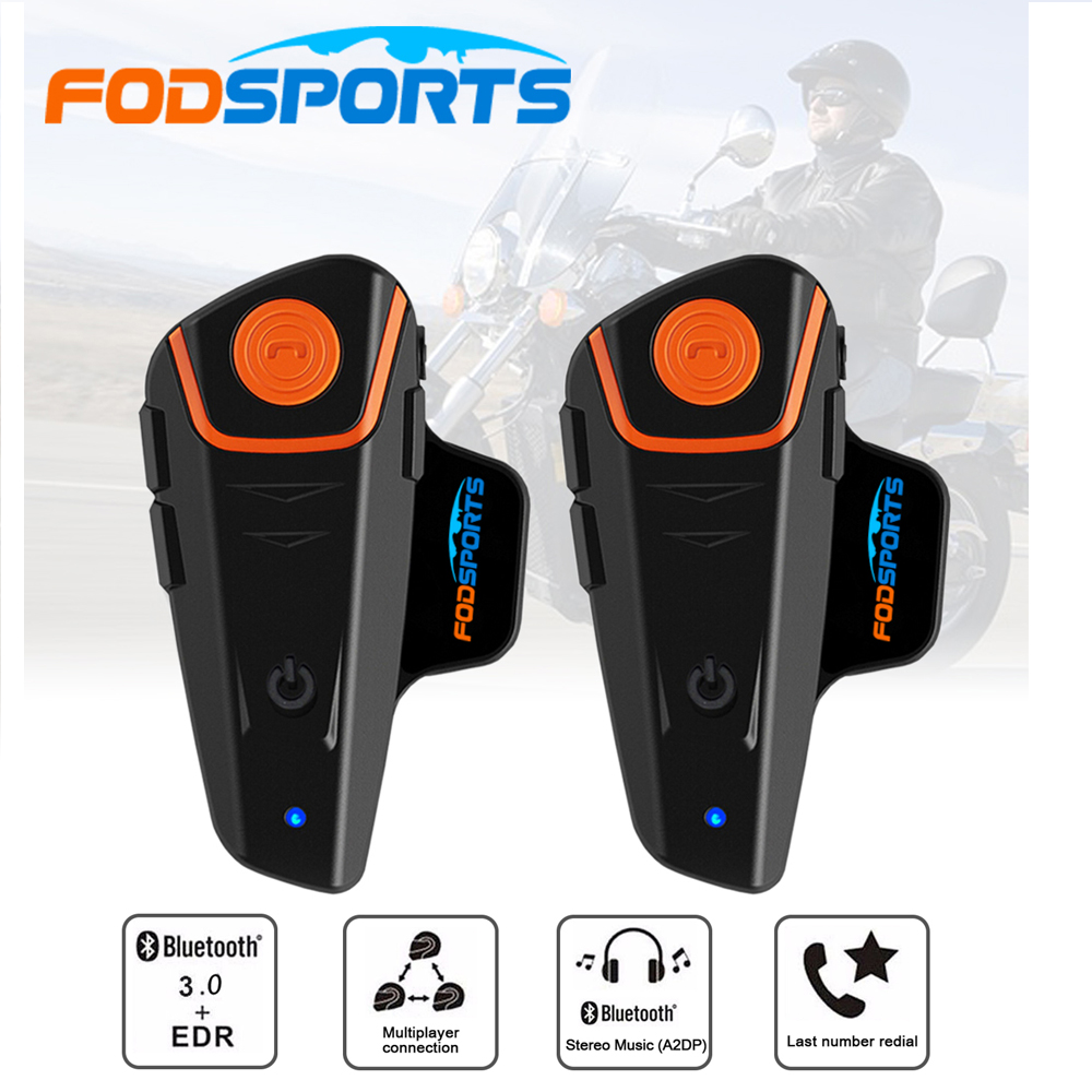 2 Pcs Fodsport BT-S2 Pro Bluetooth Motorcycle Intercom FM Motorbikel BT Wireless Waterproof Interphone Moto Helmet Headset