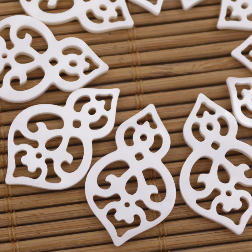 Купить с кэшбэком 10 PCS 16mmX25mm Shell Natural White Mother of Pearl Jewelry Making gourd Shape