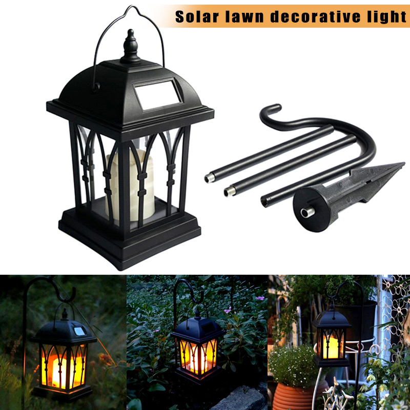 Solar Power Waterproof LED Candle Light Garden Lawn Path Street Hanging Ground Lantern Lamp CLH@8 outdoor solar power led candle light yard garden decor tree palace lantern light hanging wall lamp clh 8