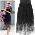 2016 Summer New Large Size Women's Skirts Solid Color Lace Hollow Out Skirt Tassel Bottoming Skirt AXD1471