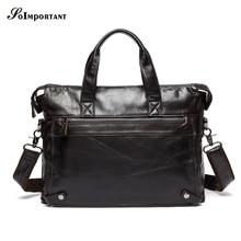 Cowhide Genuine Leather Man Fashion Briefcase High Quality Business Shoulder Bag Casual Travel Handbag Luxury Brand Laptop Bag