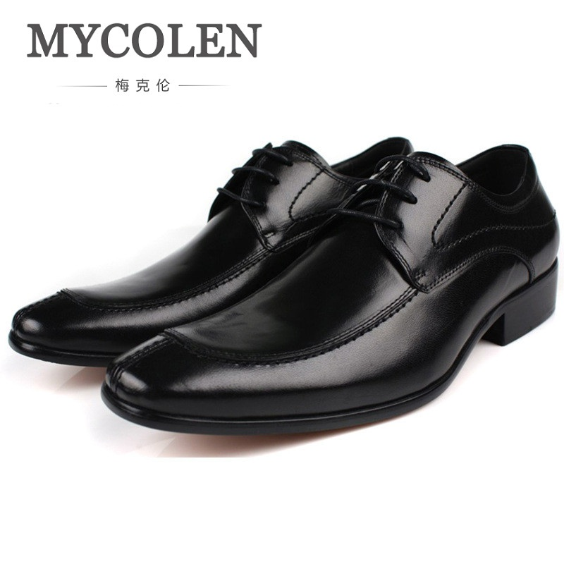 MYCOLEN TOP European Style Mens Shoes Genuine Leather Fashion Business Dress Casual Shoes Men Personalized Patchwork Shoe european style real ostrich grain leather qshoes shoes mens brand design business dress luxury men fashion top shoe ym723 63