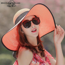 BINGYUANHAOXUAN Hot Sale Summer Sun Hats For Women Large With Ribbons Bow Beach Hat Ladies UV Protect Chapeu Feminino