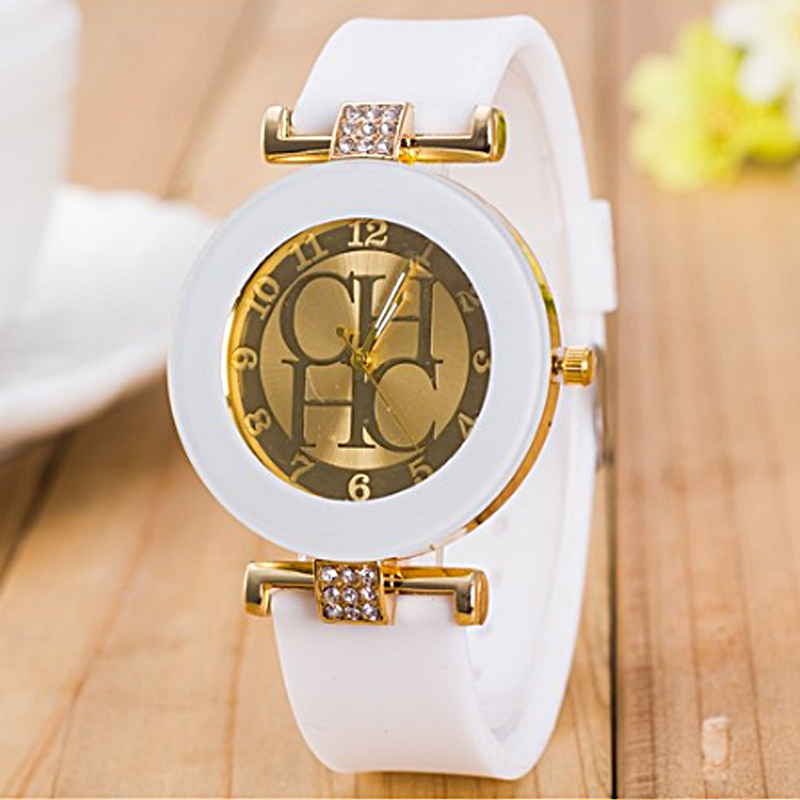 2020 Hot sale Fashion Black Geneva Casual CHHC Quartz Women watches Crystal Silicone Watches Relogio Feminino men's Wrist Watch 6