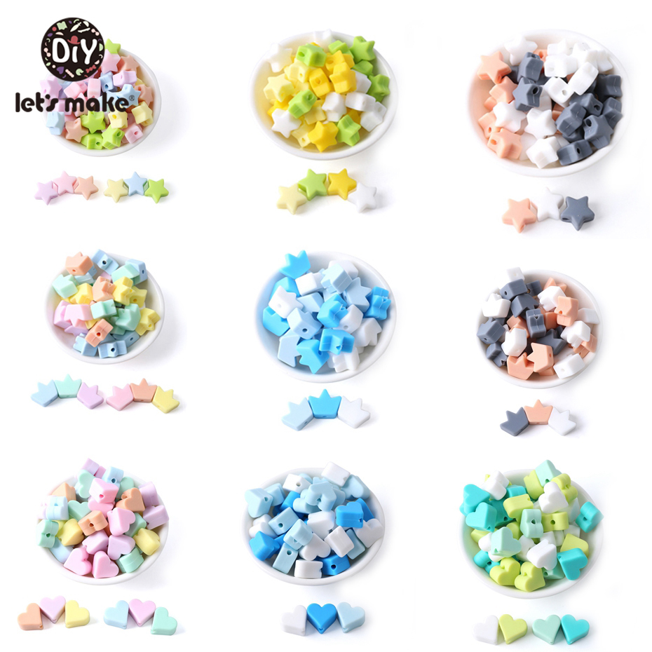 Let's Make 20Pc Silicone Food Grade Beads Teether Mini Heart Bracelet DIY Jewelry Baby Teether Round Beads 12mm Baby Teether Toy
