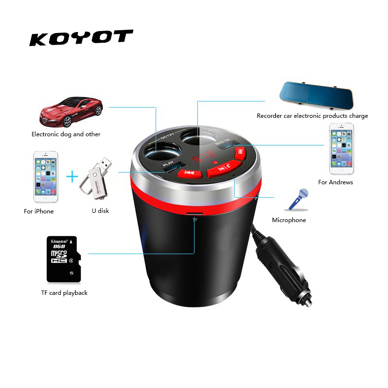 Multi Function Dual USB Ports Cup Car Charger 5V 3.1A Voltage LED Display Screen Cigarette Lighter for iphone iPad Samsung UM