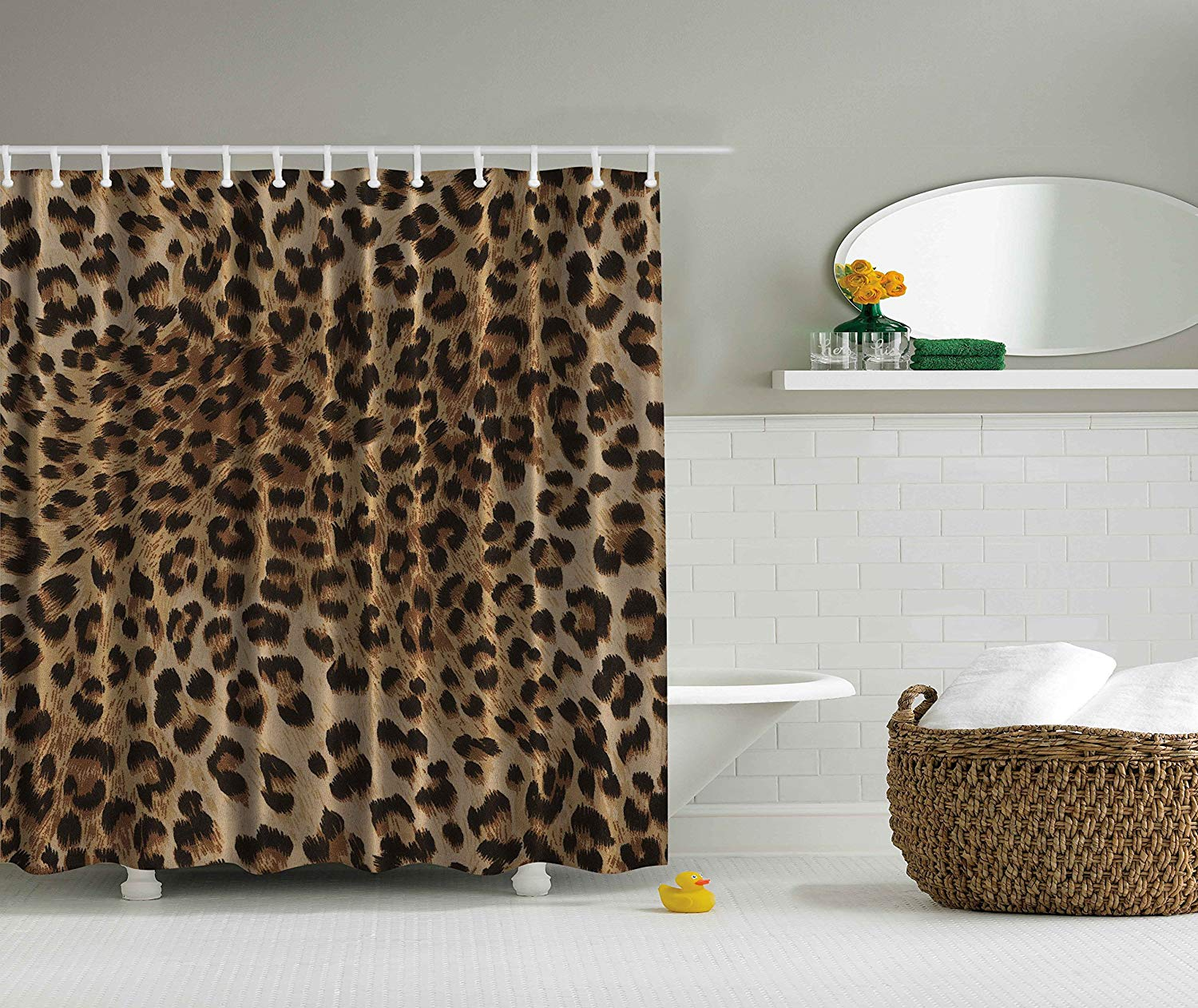 Bathroom Leopard Print Sexy Shower Curtain Nearly Natural Wildlife