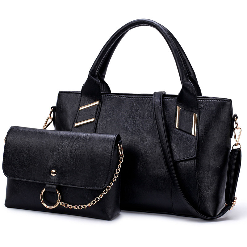 Vintage Sequined Composite Handbag 2 Set Retro Leather Casual Tote Women Shoulder Bag High Quality Luxury Bag Conjunto De Dolsas luxury genuine leather bag fashion brand designer women handbag cowhide leather shoulder composite bag casual totes