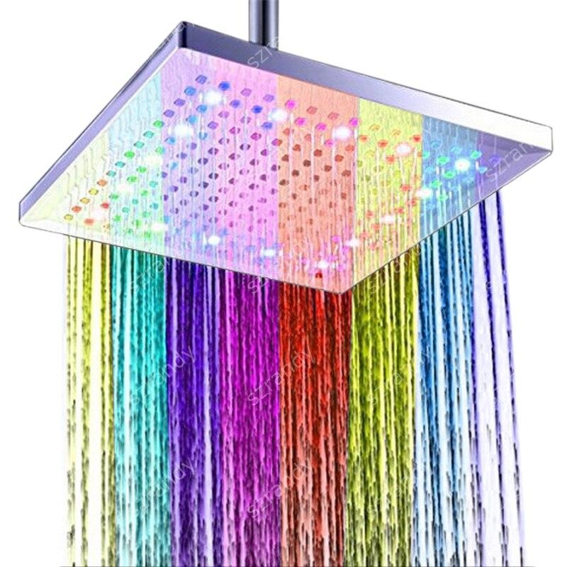 7 couleurs clignotant rapide LED pomme de douche lumières avec 300mm 12 pouces taille