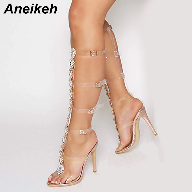 Aneikeh Plus Shoes Size 41 42 Sexy Gladiator knee High Transparent Buckle Sandals Fashion Crystal Flower High Heel Women SandalAneikeh Plus Shoes Size 41 42 Sexy Gladiator knee High Transparent Buckle Sandals Fashion Crystal Flower High Heel Women Sandal