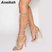 Aneikeh Plus chaussures taille 41 42 Sexy gladiateur genou haut Transparent boucle sandales mode cristal fleur haut talon femmes sandale