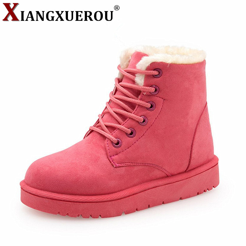2018 Hot Women Boots Winter Warm Snow Boots Women Botas Mujer Lace Up Fur Ankle Boots Ladies Winter Women Shoes Black Footwear