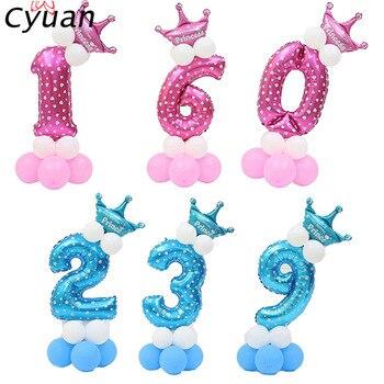 Cyuan 14Pcs Mädchen Junge Anzahl Ballons Kits Glücklich Geburtstag Ballon Geburtstag Party Dekoration Kinder Anzahl Stelligen Folie Partei Ballons