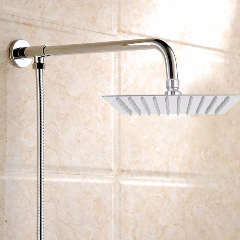 Square Bathroom Stainless Steel Rain Shower Head Rainfall 12 Inch Bath Shower Chrome Top Sprayer High Pressure Rainfall Shower flow ristrictor air booster 25% water save polish chrome stainless steel square high pressure 12 inch rain shower head