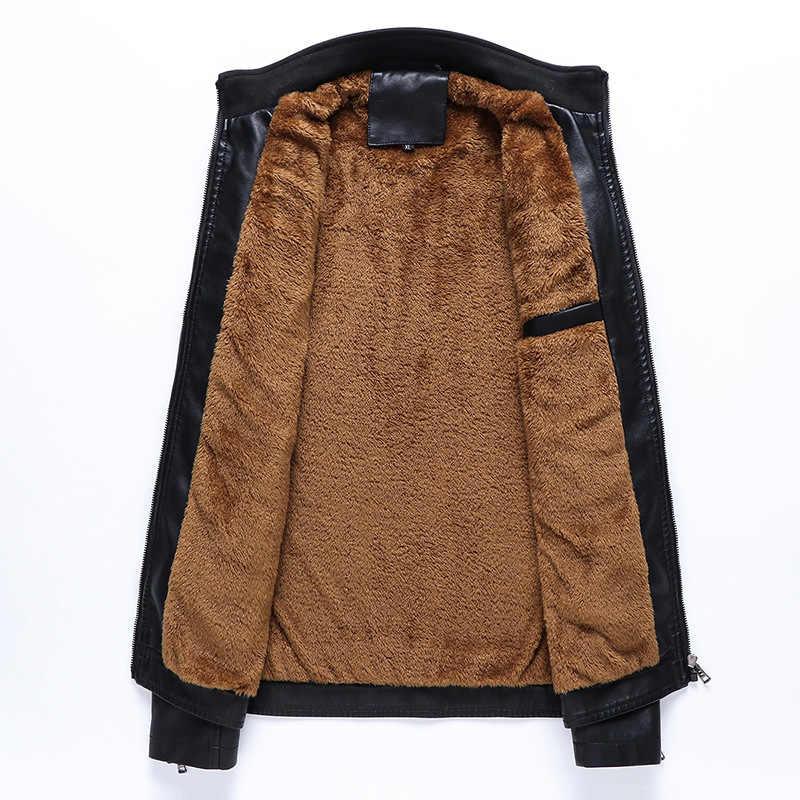 M-6XL chaqueta de cuero de los hombres moda Casual abrigo de invierno más terciopelo abrigo de algodón cálido hombres elegante chaqueta de cuero de los hombres PU cuero abrigo