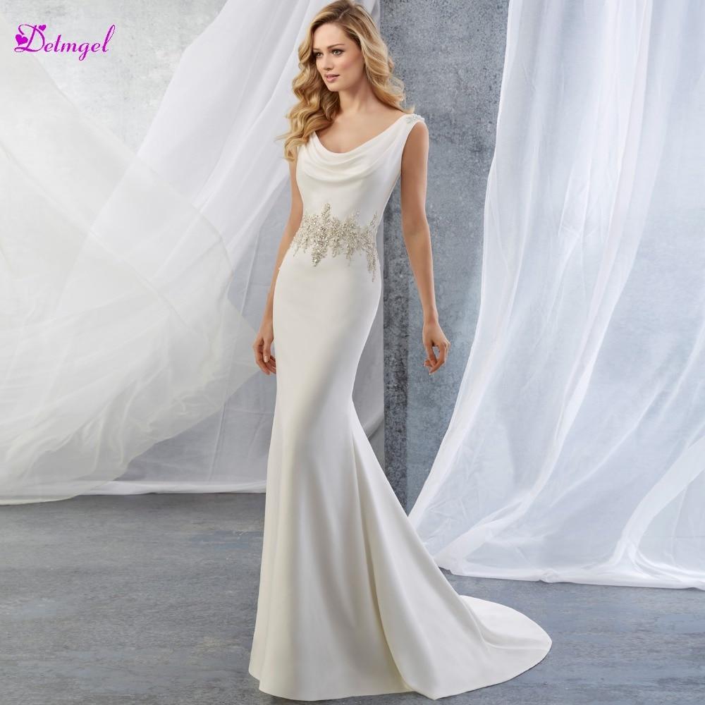 Satin Mermaid Wedding Gown: Detmgel New Arrival Romantic Scoop Neck Backless Satin