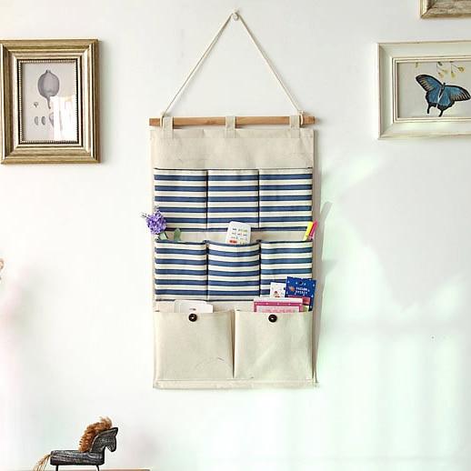 3550cm fabric cotton pocket hanging holder wall bule storage bags racks wall pocket storage striped bags