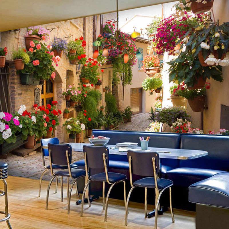 Пользовательские 3D фото обои пейзаж для гостиной диван фон страна пейзаж ностальгия дом и цветы в горшках настенные фрески