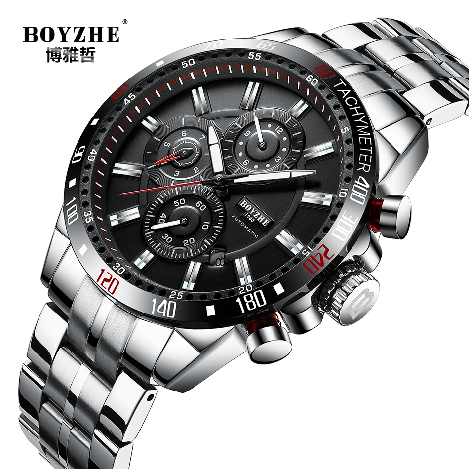 BOYZHE New Top Brand Mechanical Mens Watches Automatic Business Watch Men Sports Waterproof Male Clock Army
