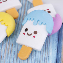2pcs Art School Supplies Office Stationery kawaii Rubber Cute Ice Cream Eraser Novelty Creative Pencil Correction Supplies(China)