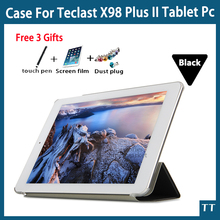 "Para teclast x98 plus ii case, plus 2 de la pu case cubierta protectora de cuero para teclast x98 x98 plus ii 9.7 ""tablet pc + free 3 regalos"