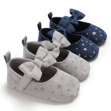 Kids Girls Shoes Non-slip Princess Bow Cute Little Stars Tod