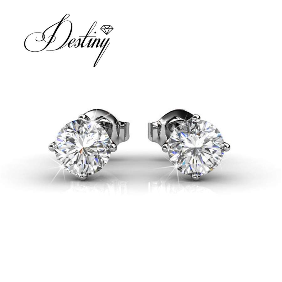 Destiny Jewellery Single Stone Earring Designs Embellished With Crystals  From Swarovski Earrings Classical Stud Earrings De0077