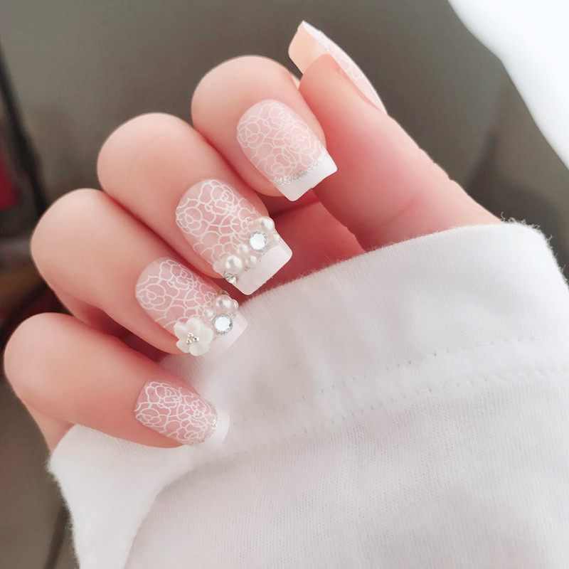 Elegant 24pcs/set Pink Rose pattern 3D rhinestone french false nails Middle-long size lady full nail tips Patch art tool bride
